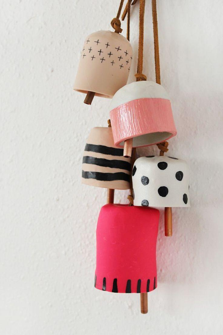 Campanas de fimo móviles de bricolaje, corbatas de cuero y tubos de cobre – Arcilla decorativa …