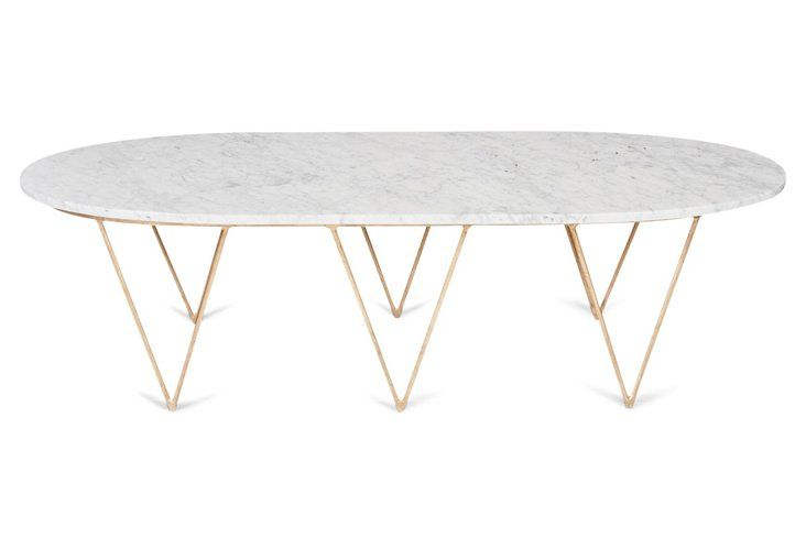 Isabelle Coffee Table, White/Gold | Quick Ship Furniture | One Kings Lane