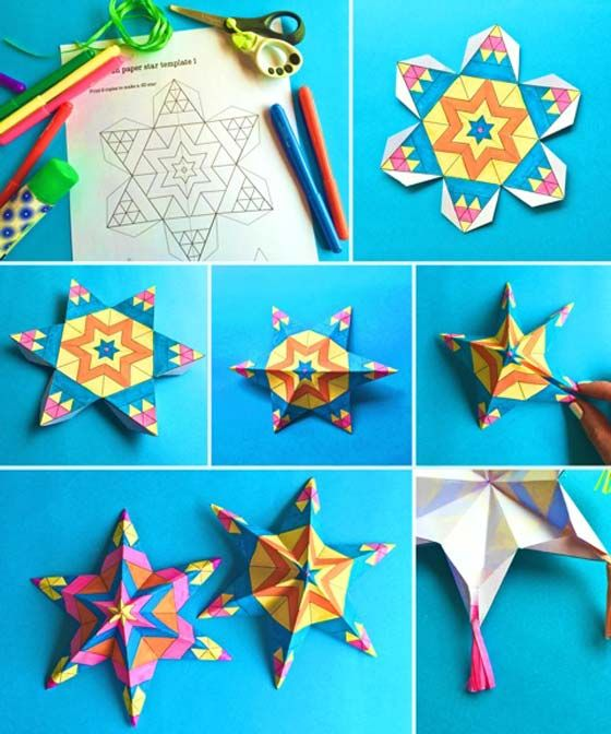 Easy assemble Mexican paper star ornaments: Craft printable color-in activities! #crafts https://happythought.co.uk/craft/tutorials/mexican-paper-star-ornaments