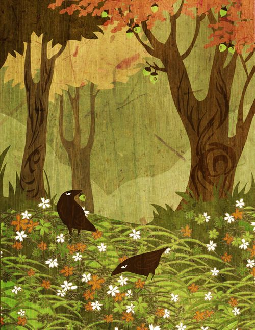 It's the first day of autumn, right?  Regardless, here is some more autumn love.  This was originally for my mother, who has an October birthday and a love of the season and its crown jewel, Halloween.  These are my grumpy crows, and they don't care that the acorns they are plundering have tiny windows in them…  —The Gorgonist