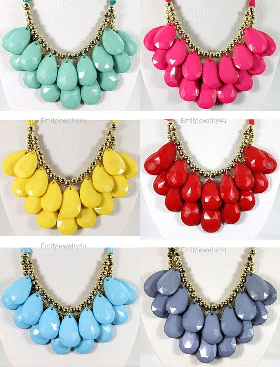 NEW Chunky Droplet Cluster Statement Necklace Set, 6 Colors For Choose,2 Layers Necklace, Bib Necklace,Bubble Necklace-BN0290 on Etsy, $14.40