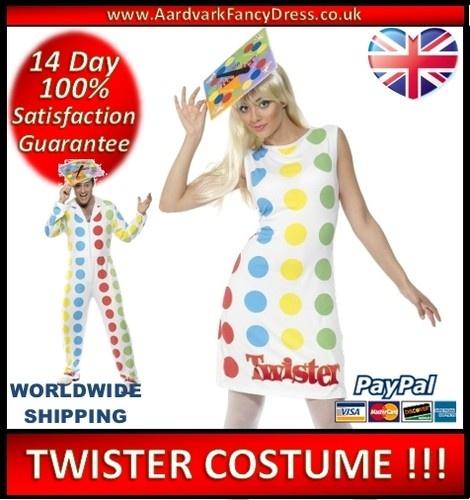 ★ TWISTER Party Fancy Dress Costume NEW Mens Ladies Size Medium 12 14 GAME 80s   eBay