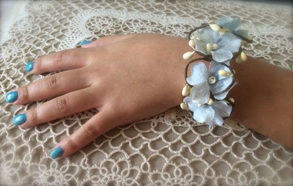 flower  wrist corsage flower bracelet cuff for by TheCrystalFlower, $38.00