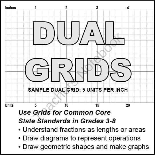 Graph/Grid Paper for Fractions: DUAL GRIDS in Inches and
