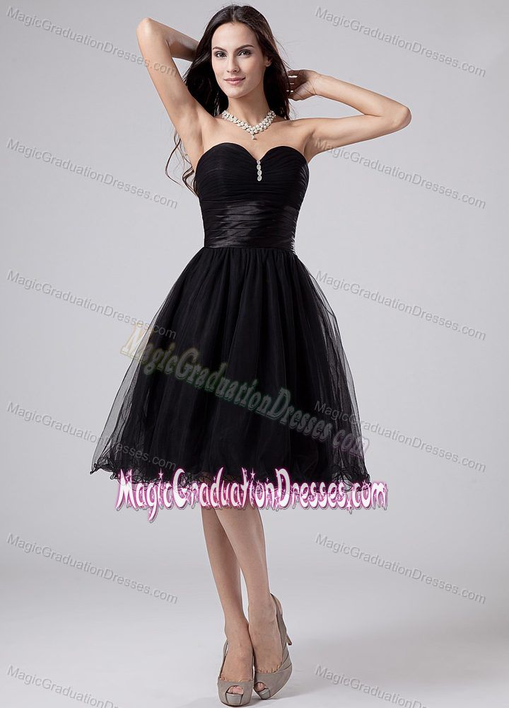 Black Beading Sweetheart Ruche Organza Backless Graduation Dresses