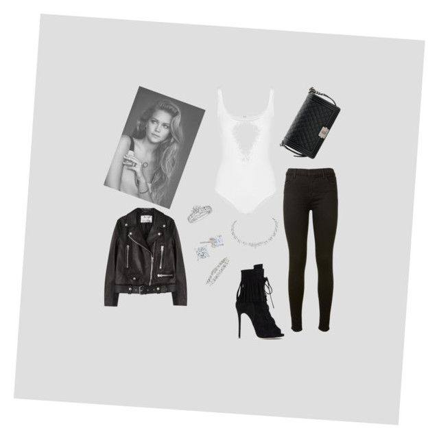 """""""Black and White"""" by dg368564 ❤ liked on Polyvore featuring Wolford, J Brand, Acne Studios, Giuseppe Zanotti, Chanel and Tiffany & Co."""