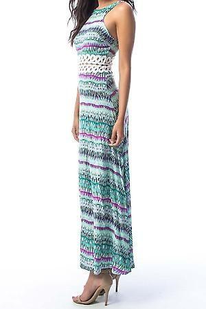 Boho Posh Lace Waistline Maxi | Avibrantand flatteringspringtime dress featuring striking lacewaistline for figureflatteringac | Primary View | Sassy Posh
