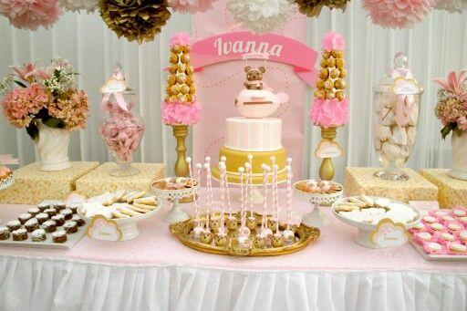 Fiestita en tonalidades rosa y dorado deco pinterest - Decoracion mesa cumpleanos ...
