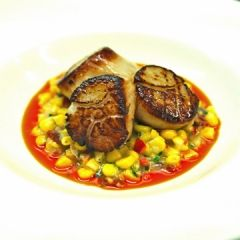 polenta with spicy pan seared polenta with spicy seared scallops ...