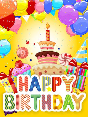 Exciting and Fun Birthday Party Card: Birthdays are the best, most exciting day of the year! If you have a friend or family member who has a birthday today, send this bright, colorful Happy Birthday card to help them celebrate! The cake, balloons, candy, presents, and confetti will be the perfect party-in-a-card to help them have a day they'll never forget! Send it today!
