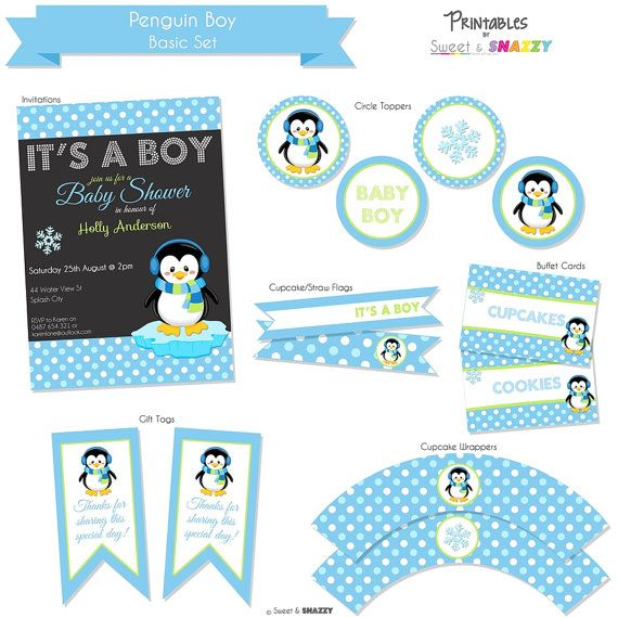 Penguin Baby Shower Boy Party Printables Basic Set By SweetSnazzy, $25.00