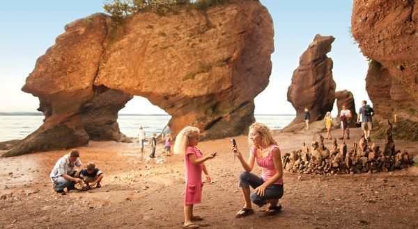 Walking the ocean floor at low tide in the Bay of Fundy // The Hopewell Rocks, New Brunswick Canada