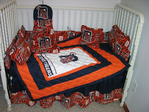 Crib Nursery Bedding Set Made W Detroit Tigers Fabric | EBay