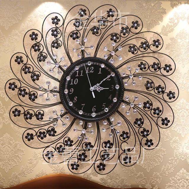 Часы настенные часы домашнего декора железа черные часы цветы европейская мода часы с бриллиантами вс движение часы