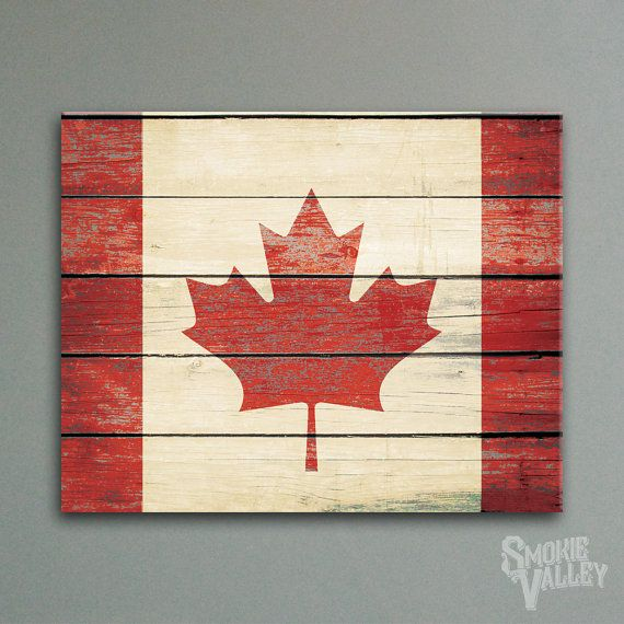 "Rustic Distressed Canadian Flag | 16""x20"" Canvas Print 