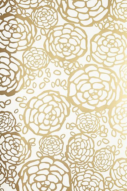 Petal Pusher Wallpaper #AnthroFave #GoldDecor | Your ...