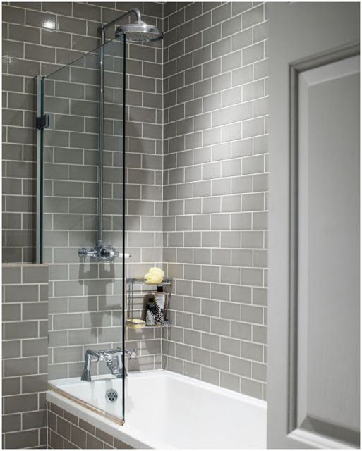 I like the contrast of the gray subway tiles against the white tub