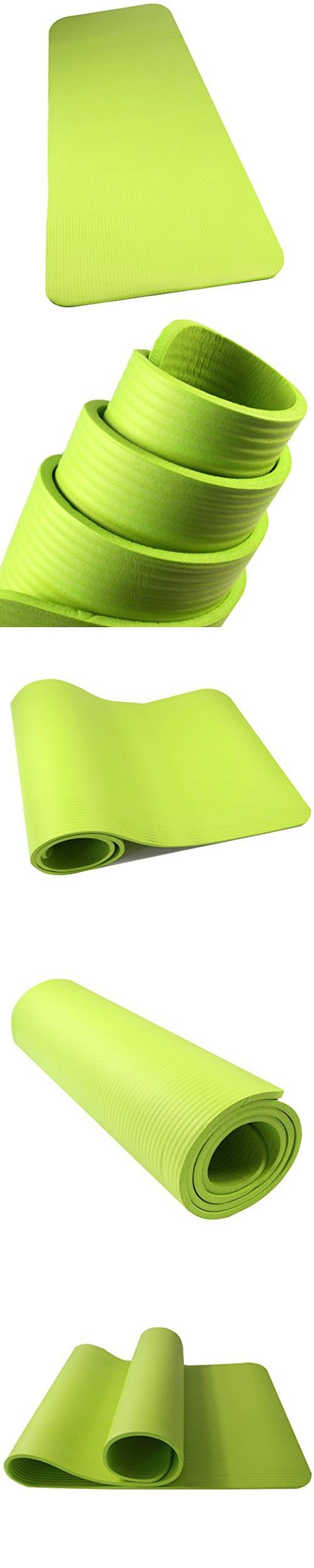 Amyup 1/2-inch Extra Thick 72-inch Long NBR High Density Anti-tear Non-slip Yoga Mat in Color Green, Exercise Mat for Exercise Fitness Pilates