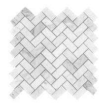 Tiles R Us - Carrara White Marble Honed Herringbone Mosaic Tile - - Italian Carrara White Marble Honed 1x2 Herringbone Mosaic Tile.