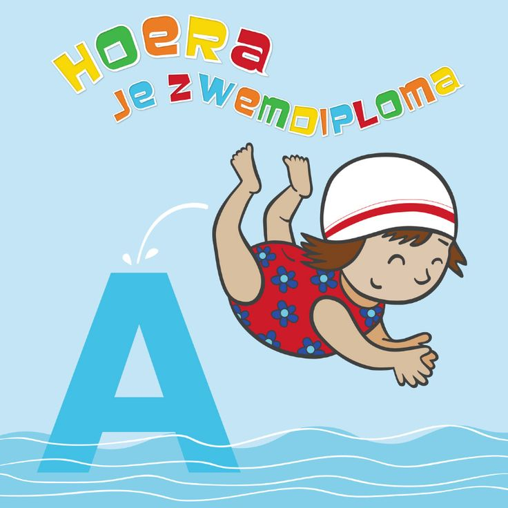 Leuke felicitatie kaart voor een meisje die haar zwemdiploma A heeft gehaald.