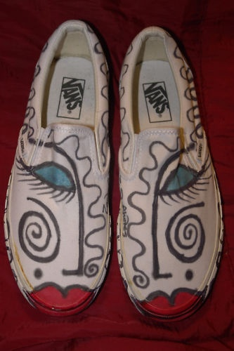 ZANDRA RHODES ~ HAND SIGNED & HAND DECORATED VANS SHOES ~ QUEEN BOWIE WESTWOOD