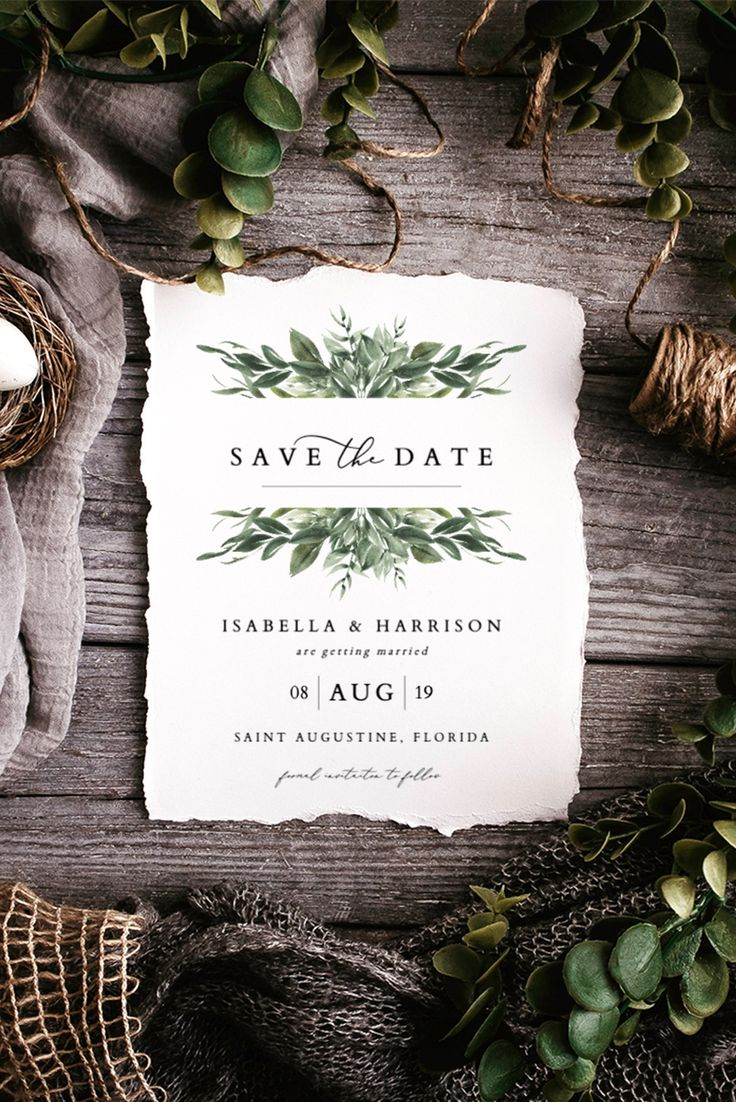 Modern Watercolor Greenery Save the Date