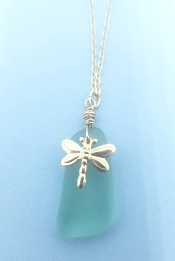 Excited to share the latest addition to my #etsy shop: Beautiful Sea Foam seaglass with a gold filled dragonfly on a gold filled chain. http://etsy.me/2oUtYJa