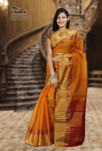 ORANGE COLOR UPPADA DESIGN SAREE
