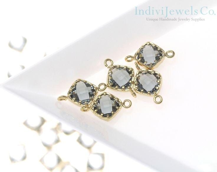 Black Diamond Glass Hanger / 2 stuks - CG029-PG-BD van IndiBeJewels op DaWanda.com