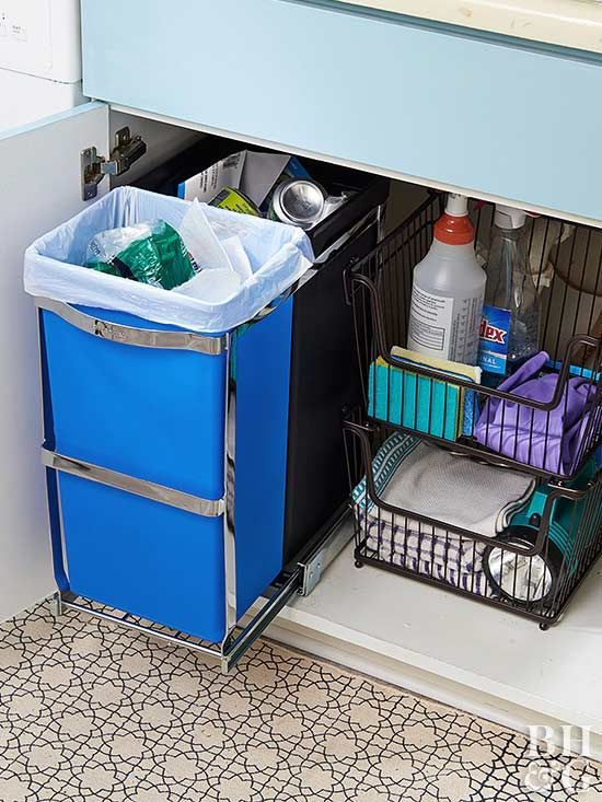 No more digging in the dark to find the bleach. Undersink cabinets are often a jumble of cleaning products, trash bins, and other practical household items. Take control of the mess using a pullout track for small trash and recycling bins and stackable wire baskets for other necessities.