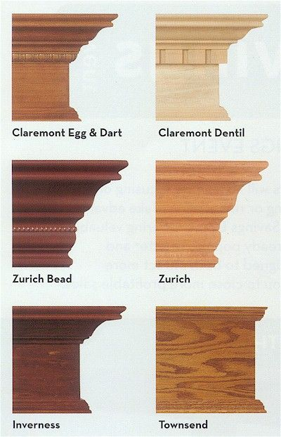 Bingo! Wooden cornices (Crown moulding) to finish the Billys when we put them in the game room. The colour of the Zurich Bead or more particularly the Inverness looks right for them - but would need to see samples. I think my preferred profiles are the Inverness and the Claremont Egg & Dart, although the Zurich looks more like what we have as cornicing.