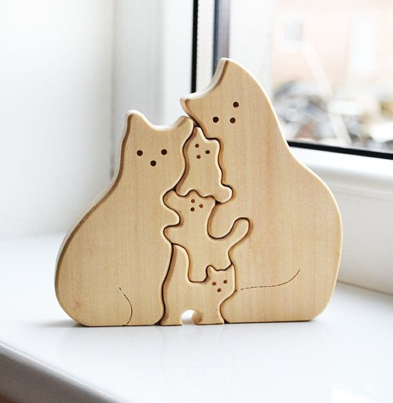 Wooden Puzzle cats - Educational toys - Puzzle Toy - Kids gifts - Animal puzzle - Wooden cats - cats family-  Father's Day gift