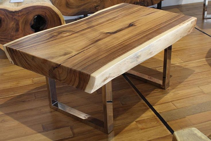 "40"" freeform coffee table made of solid acacia wood 