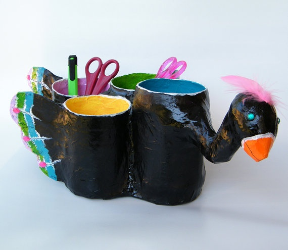 Whimsical organizer Upcycled paper mache black pen by RecycoolArt, $38.00