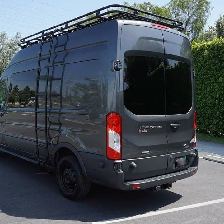 American Van Works Ford Transit build with Aluminess roof rack and ladder  .  #aluminess #roofrack #ladder #ford #fordtransit #fordtransitcamper #vanconversion #adventurevan #adventuremobile #americanvanworks