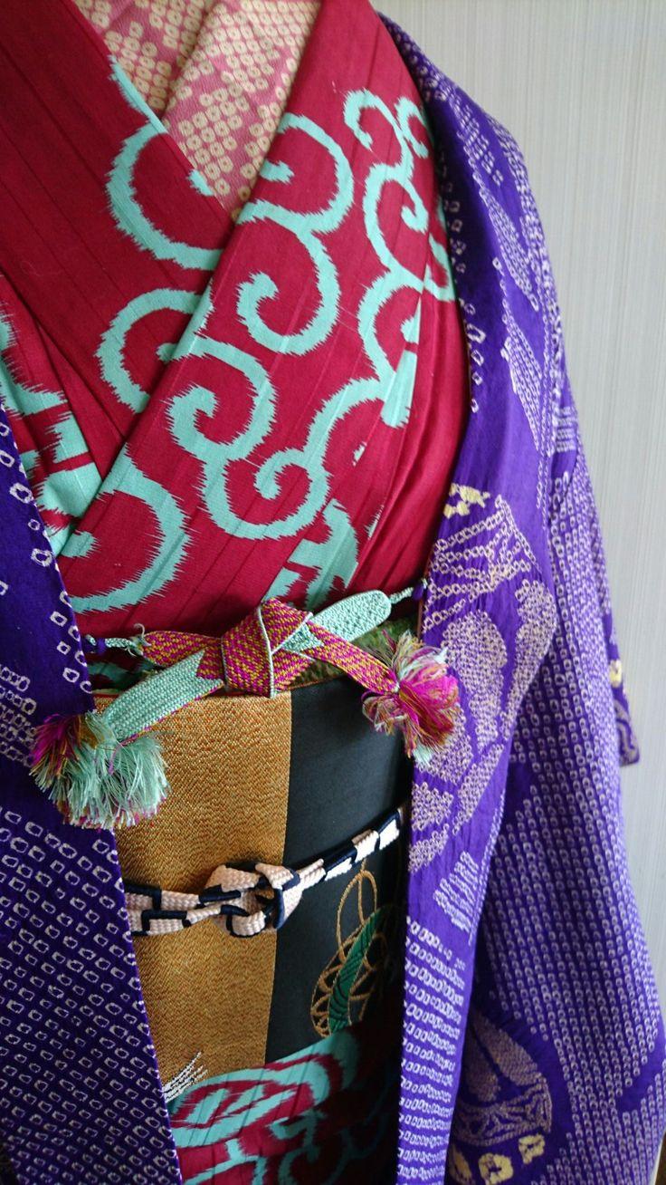 銘仙着物と絞りの羽織