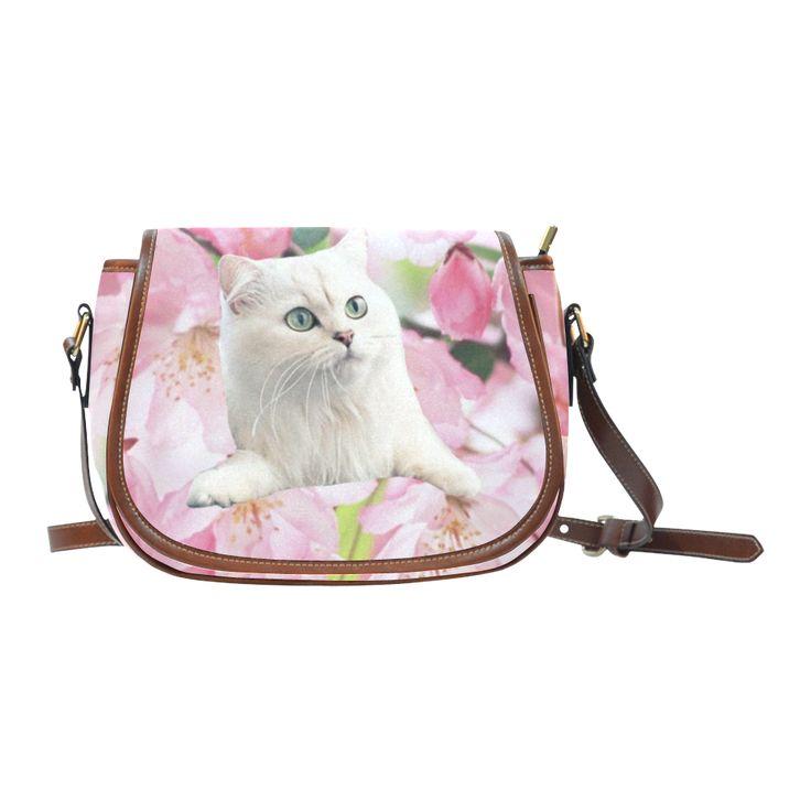 Cat and Flowers Saddle Bag/Large (Model 1649)