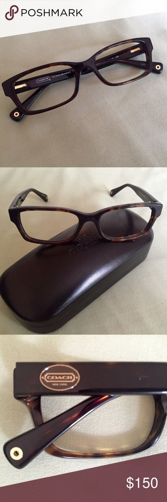 .:COACH RX GLASSES FRAME, DARK TORTOISE:. Never used, I was going to get lenses put in but decided to go for a different look. Unfortunately I waited too long to return it. Frame is in perfect condition. Eye size:50 bridge:16 temple:135. COACH HC 6040 (Brooklyn) Case is included, has small scuff on top right, see photo above. **Does not come with the original plastic lenses.** Coach Accessories Glasses