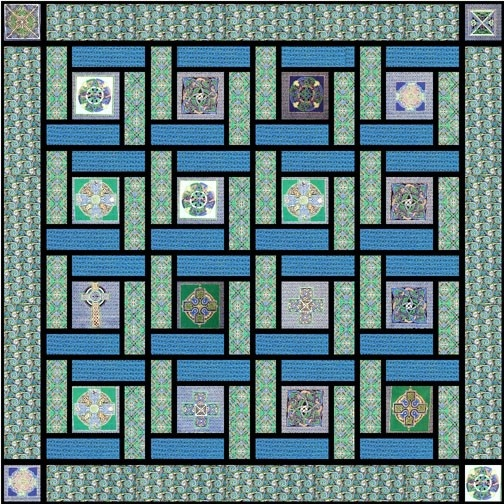 Blue Celtic Squares Quilt ( not made from shirts, I just ...
