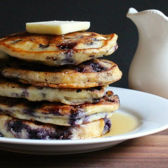 These blueberry buttermilk pancakes are light & fluffy and will melt in your mouth.