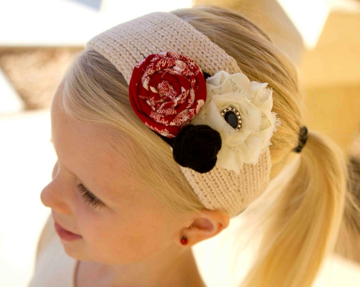 Valentine's Day Headband/Headwrap with Shabby Flower, Fabric Rosette, and Felt Flower Combination.Etsy.