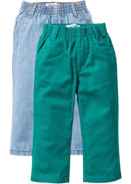 Jeans (2er-Pack), John Baner JEANSWEAR, lightblue bleached used Optik/Dunkelsmaragd
