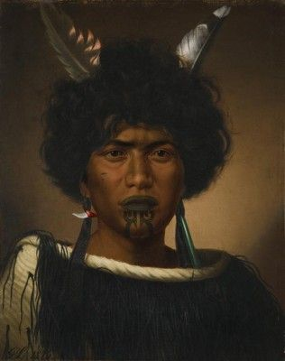 Maori girl's portrait by Gottfried Lindaeur (1876)