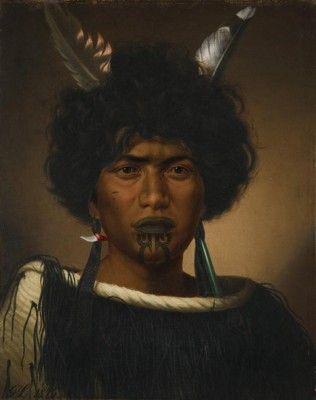Maori girl's portrait by Gottfried Lindaeur (1876)