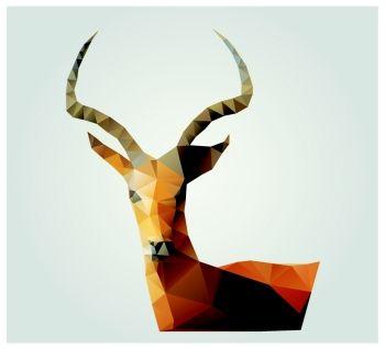 Geometric polygon antelope triangle pattern design vector illustration