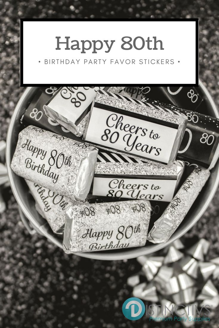 Say Happy 80th in Style - celebrate the birthday guest of honor in shiny silver and black for their milestone 80th birthday event. Party Planning Has Never Been So Easy - and Sweet!