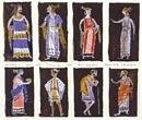 """Yannis Moralis, Costume Designs  Aristophanes, """"Plutus""""  Theatro Technis  Pedio Areos 1957"""