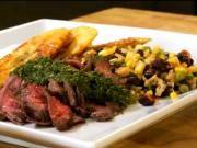 Skirt Steak, Chimichurri, Rice, Beans, Caramelized Plantains and Bodega Elena De Mendoza