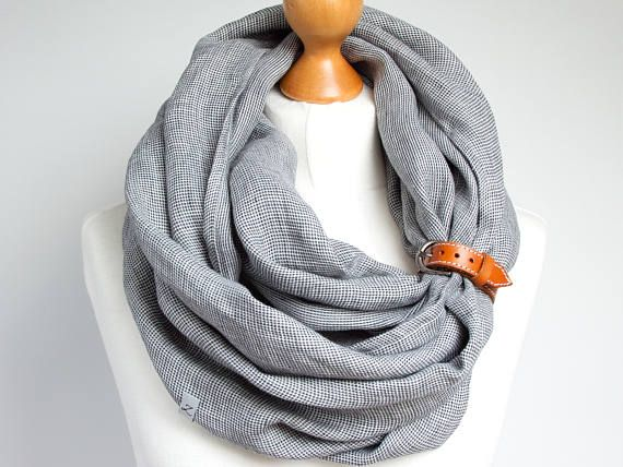 28e10b75760 LINEN Infinity Scarf tube scarf with cuff baltic linen scarf