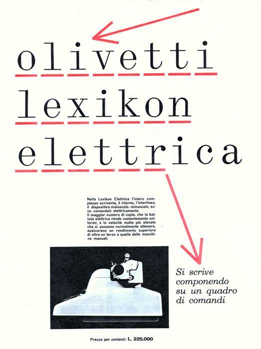 Olivetti Lexikon Elettrica   Giovanni Pintori, 1956